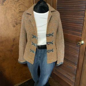 Sweater Jacket with Velvet Trim
